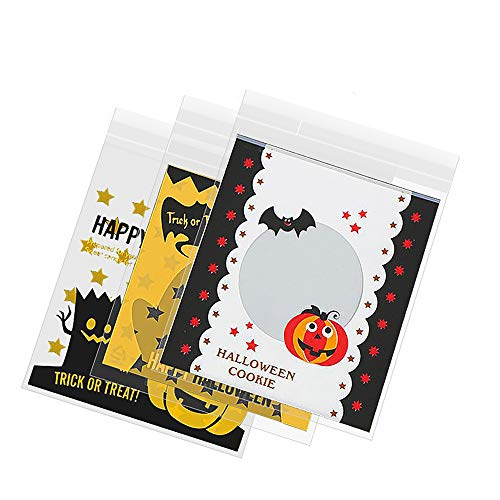 (FineInno 300Pcs Halloween Self Adhesive Candy Bag Cellophane Bags Clear Plastic Trick or Treat Bag Packaging OPP Bags for Cookie Bakery Biscuit Snacks Dessert)