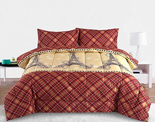 Full/Queen Paris Comforter Bedding Set Christmas Winter Holiday Eiffel Tower, Red Tan