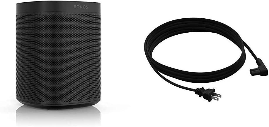 All-New Sonos One with Long Power Cable. The Smart Speaker for Music Lovers with Amazon Alexa built-in for Wireless Music Streaming and Voice Control. (Black)