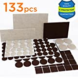 #3: X-PROTECTOR Premium TWO COLORS Pack Furniture Pads 133 piece! Felt Pads Furniture Feet Brown 106 + Beige 27 various sizes – BEST wood floor protectors. Protect Your Hardwood & Laminate Flooring