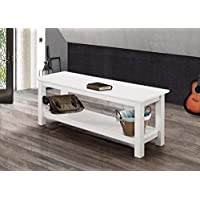 WE Furniture 50 Country Style Entry Bench - White