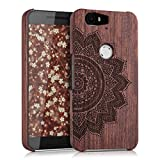 kwmobile Natural wood case with Design half-flower for the Huawei Google Nexus 6P in rosewood dark brown