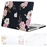MOSISO Case Only Compatible with Older Version MacBook Pro Retina 13 inch(A1502 / A1425, Release 2015 - end 2012),Plastic Flower Pattern Hard Case&Keyboard Cover&Screen Protector, Peony Blossom
