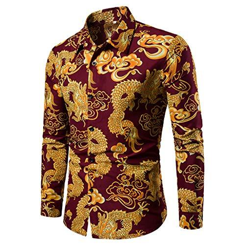 iCJJL Men Fashion Dragon Printed Long Sleeve Collared Button Down Shirt Vintage Casual Ethnic Tribal Paisley Dress -