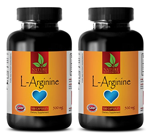 Testosterone for man sex - L-ARGININE 500mg - L-arginine supplement - 2 Bottles 200 Capsules by NATURE SUPPLEMENTS