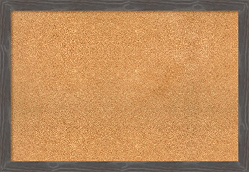 Framed Cork Board Extra Large, Woodridge Rustic Grey: Outer Size 39 x 27'' by Amanti Art
