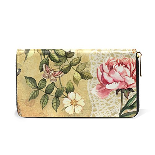 Organizer Clutch Watercolor Floral And Vintage Wallet Purses Womens Around Zip Handbags TIZORAX xYAq1ICwn