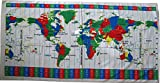 World Time Zones White Color Velour Beach Towel 30x60 Inches
