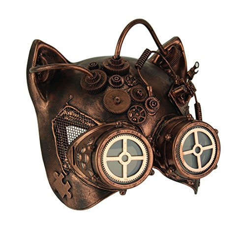 Copper Robot Kitty Steampunk Cat Face Costume Mask -