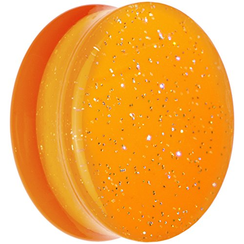 Body Candy Orange Neon Acrylic Glitter Saddle Ear Gauge Plug (1 Piece) 26mm