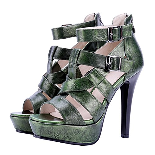 AIYOUMEI Women Open Toe Ankle Strap Platform Sandals with Buckle and Zipper Elegant Pumps Shoes Green 207eP9t