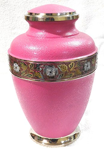 Pink Cremation Urn - Funeral Urn for Human Ashes - Large Adult Size Burial Urn - 100% Brass - Heavy Brass Hand Painted - (Replacement Urn Lid)