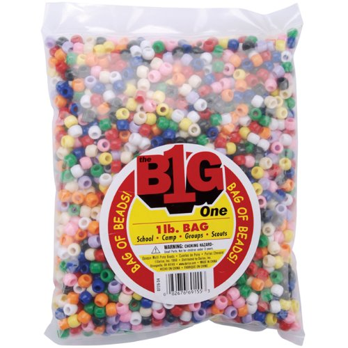 Darice Assorted Pony Beads – Great Craft Projects for All Ages – Bead Jewelry, Ornaments, Key Chains, Hair Beading – Round Plastic Bead With Center Hole, 9mm Diameter, 1 lb. Bag