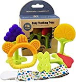 Image of Ike & Leo Teething TREES -Baby Infant and Toddler Toys, Best for Sore Gums Pain Relief, Eco Friendly BPA Free & Freezer Safe, Set of 4 Silicone Teethers WITH Pacifier Clip