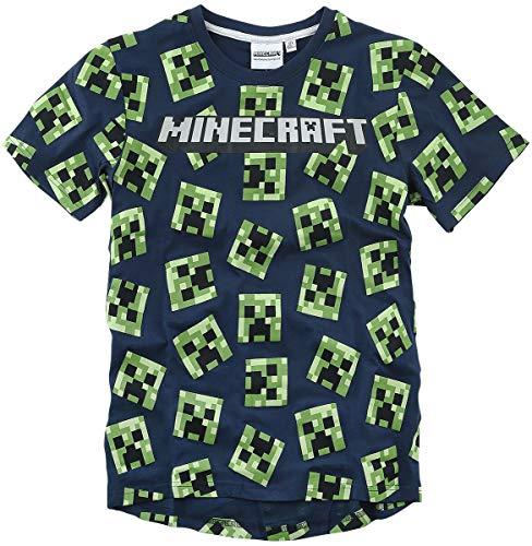 Minecraft Creeper T-shirt donkerblauw Baby's & ouders, Fan merch, Gaming, Schurken