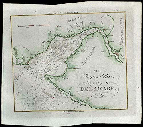 Delaware River NJ coast Philadelphia PA Cape Henry 1833 Blunt nautical chart map