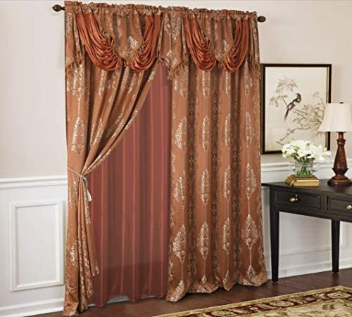 RT Designers Collection Rosetta Textured Jacquard Curtain Panel w Attached 18 Valance, 54 x 84, Ginger