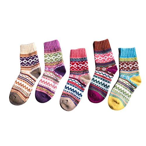 Ikevan 5 Pairs Womens Warm Wool Socks - Footless Tights Cuff