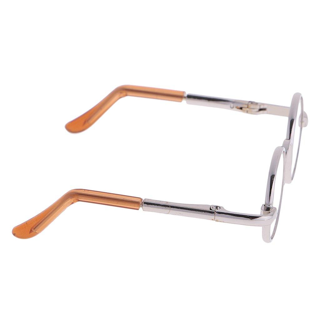 MonkeyJack 1/3 BJD Fashion Hippy Style Round Frame Glasses Eyewear for Dollfie LUTS SOOM DZ SD17 Dolls Silver Frame Clear Lens