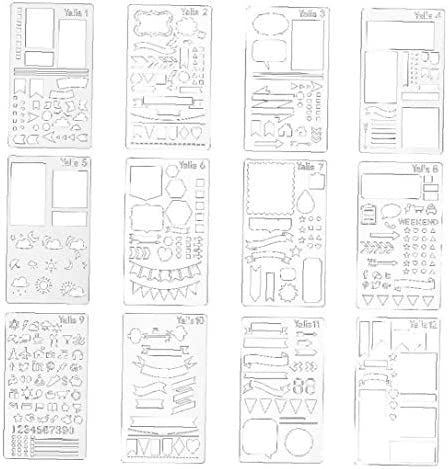 shentaotao Kugel Journal Schablone DIY Tagebuch Zeichnungsvorlage Für Journal Notizbuch-Tagebuch Scrapbook DIY Zeichnungsvorlage 12st