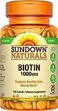 Sundown Naturals Biotin 1000 mcg, 120 Tablets (Pack of 3)