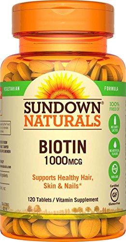 Sundown Naturals Biotin 1000 mcg, 120 Tablets (Pack of ()
