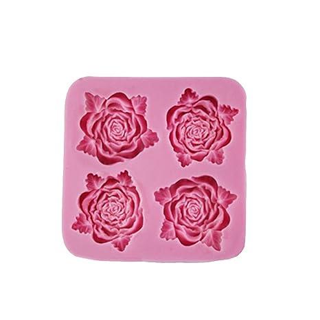 BESTONZON Molde de silicona con forma de rosa para fondant de azúcar para pasteles, galletas