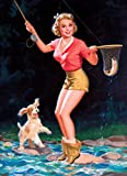 1940s Pin-Up Girl I Caught a Fish With Puppy Picture Poster Pin Up Print Art