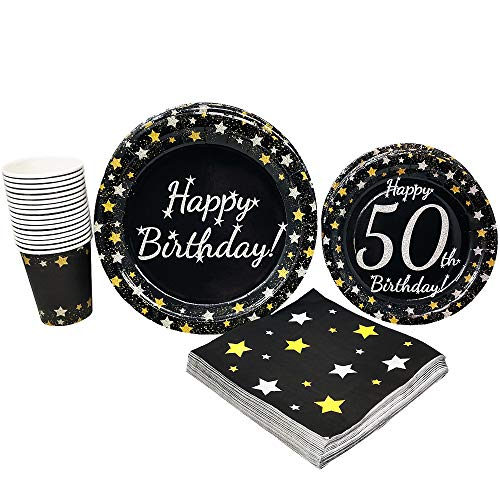 50th Birthday Party Supplies (65+ Pieces for 16 Guests!), Milestone Birthday Kit, Fiftieth Tableware Pack, Anniversary Birthday Decorations, Gold and Silver