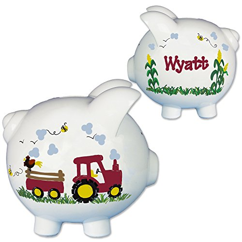 Hand Painted Personalized Red Tractor Piggy Bank for Farm Baby Gift
