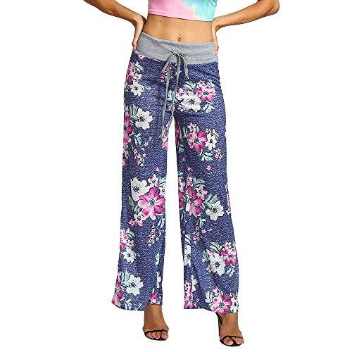 Todaies Womens Wide Leg Lounge Pants,Comfy Stretch Floral Print Drawstring Palazzo Pants (Blue, XL) ()