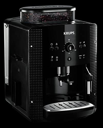 KRUPS ESSENTIAL NOIRE Machine à café à grain Machine à café broyeur grain Cafetière expresso 2 tasses Nettoyage automatique Buse vapeur CappuccinoYY8125FD