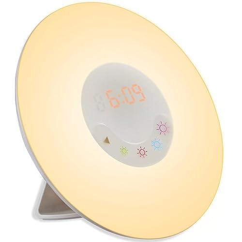 AMIR Wake-Up Light Alarm Clock, (7 Sound 5 Colour) Nature Night Light with Sunrise Simulation FM Radio Sound, Touch Control Multi-Functional, 4-Brightness for Bedroom, Living Room, Playroom, Nursery
