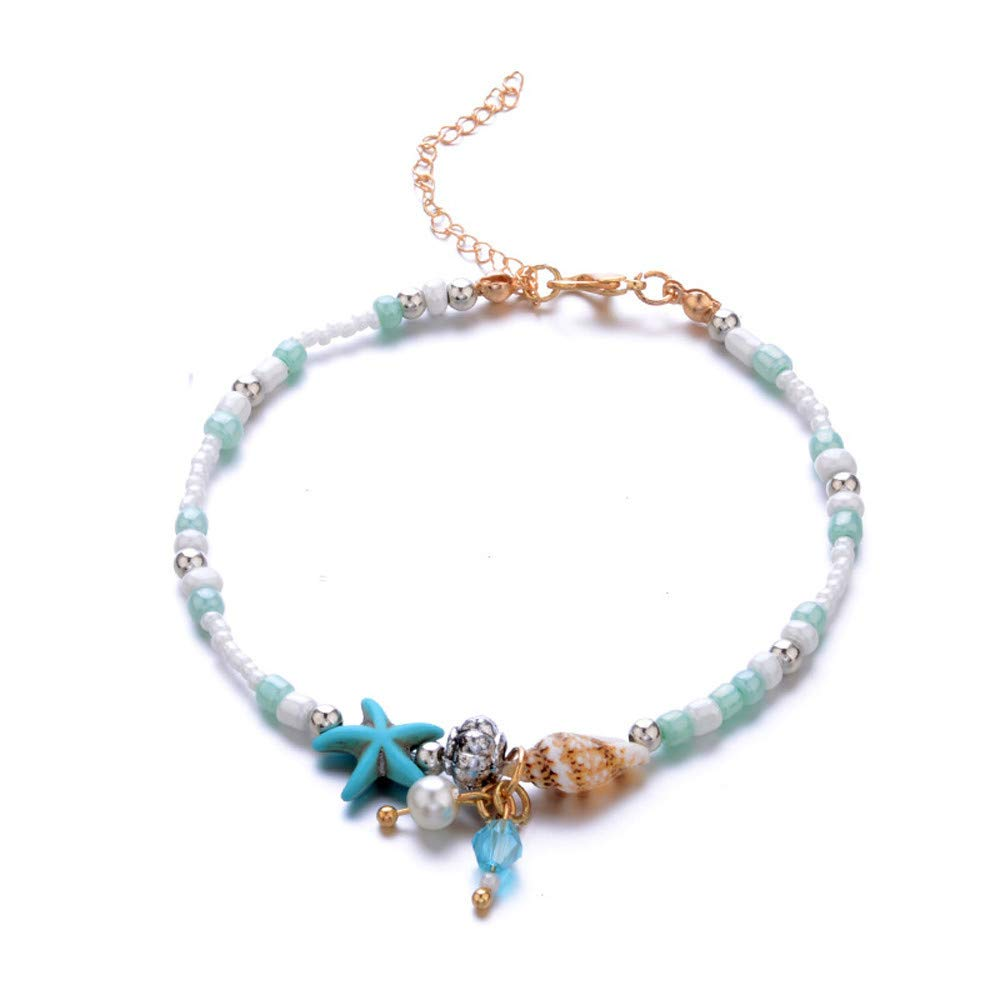 Seashell Anklets for Women Beaded Bohemia Ankle Bracelets Alloy Beach Foot Bracelet for Women & Girls Vintage Ankle Foot Chain for Beach Party Travel