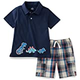 Kids Headquarters Baby Boys' 2 Pieces Shorts Set-Polo Top, Navy, 18M