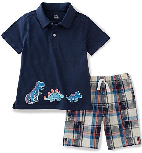 - Kids Headquarters Little Boys 2 Pieces Polo Top Shor Set, Navy, 6