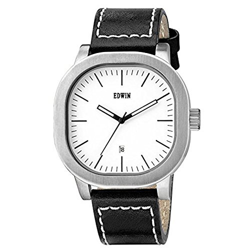 Edwin EW1G016L0014 Men's Stainless Steel Black Leather Band White Dial Watch