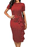 CISMARK Women's Polka Dot Short Sleeve Bodycon Bodycon Wear to Work Dress,Red,Small