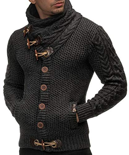 Dellytop Mens Sweaters Casual Turtleneck Cable Knit Button Down Pockets Cardigans ()