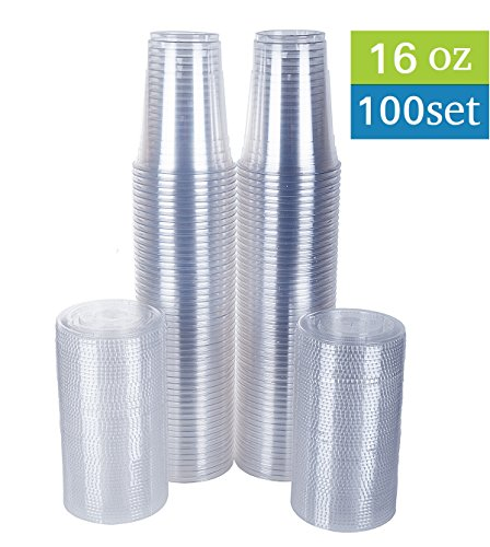 TashiBox Disposable 16 oz Plastic Cups with Flat Lids, 100 Sets, Crystal Clear -