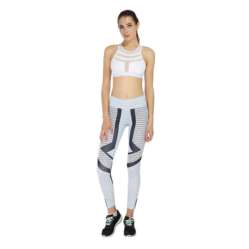 Women Leggings, Fashion Polka Dots Workout Fitness Sports Pants Casual Running Yoga Sweatpants Gray
