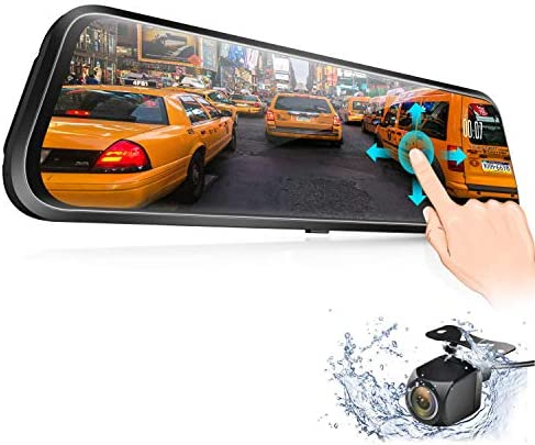 Backup Camera, Vizomaoi D10 10 Mirror Dash Cam IPS Touch Screen 1080P Rearview Front and Rear Dual Lens with Night Vision Waterproof Reverse Camera Streaming Media Dash Camera for Cars