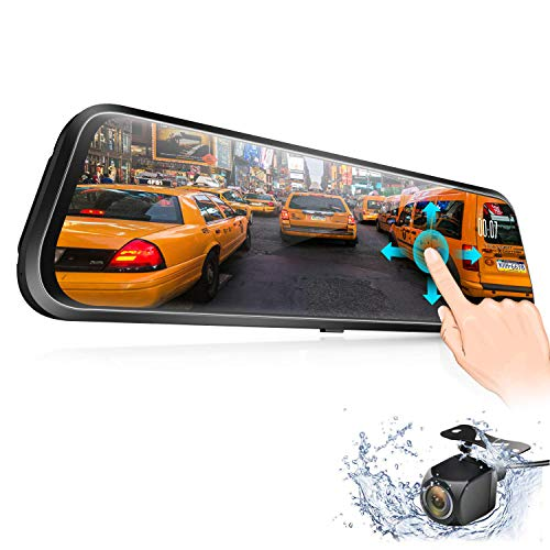 Backup Camera, Vizomaoi D10 10'' Mirror Dash Cam IPS Touch Screen 1080P Rearview Front and Rear Dual Lens with Night Vision Waterproof Reverse Camera Streaming Media Dash Camera for Cars