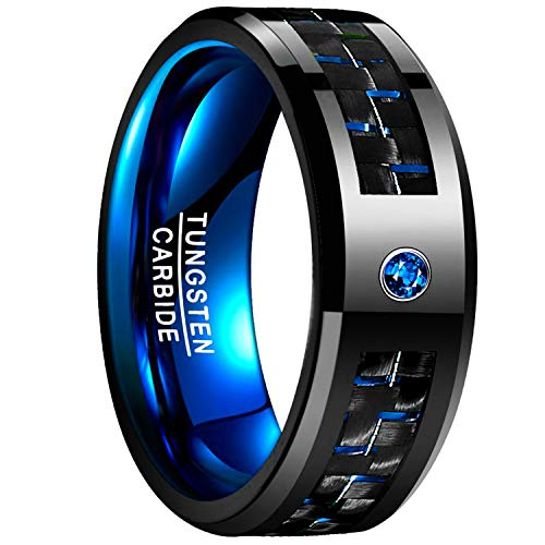 Nuncad Tungsten 8mm Black and Blue Carbon Fiber Inlay High Polish Men's Wedding Band Ring Size 9