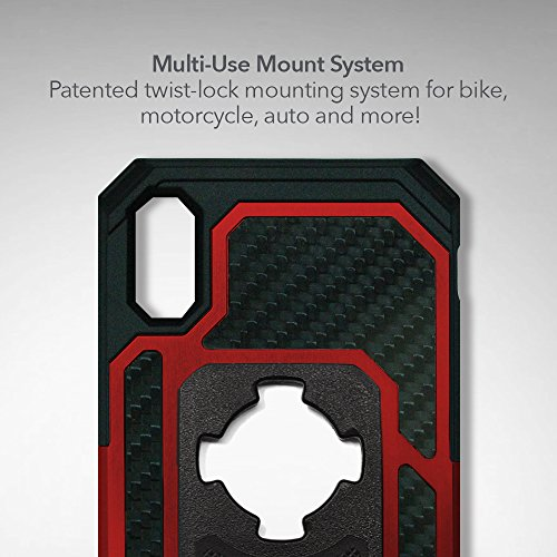 Rokform Fuzion Pro Series [iPhone X/XS] Protective Aluminum & Carbon Fiber Magnetic case with Twist Lock Insert Included (Red) by Rokform (Image #3)