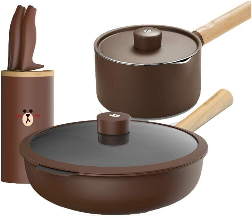 Nonstick Cookware Set, Non Stick Coating Stainless Steal Induction Base Oven Safe Pots Pans with Lids & Frying Pan Set Cartoon-brown-Wok+milkpan+knife