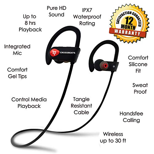 CrossBeats Wave Waterproof Bluetooth Wireless Earphones For Mobile With Mic And Carry Case ( Black ) 4
