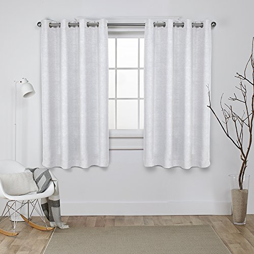 Sateen Oxford (Exclusive Home Curtains Oxford Textured Sateen Thermal Room Darkening Grommet Top Window Curtain Panel Pair, Vanilla, 52x63)