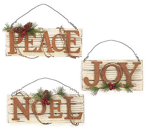 Set of 3 Assorted Distressed Wood Christmas Wall Hanging Signs - Joy, Noel & Peace