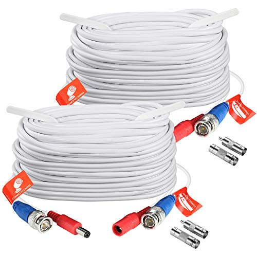 ZOSI 2 Pack 100ft (30 Meters) 2-in-1 Video Power Cable, BNC Extension Surveillance Camera Cables for Video Security Systems (Included 2X BNC Connectors and 2X RCA Adapters)-White Color